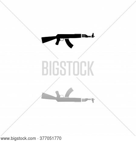 Assault Rifle. Black Symbol On White Background. Simple Illustration. Flat Vector Icon. Mirror Refle