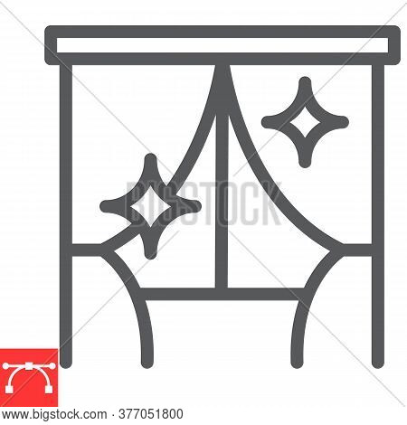 Curtain Cleaning Line Icon, Dry Cleaning And Wash, Curtain Sign Vector Graphics, Editable Stroke Lin