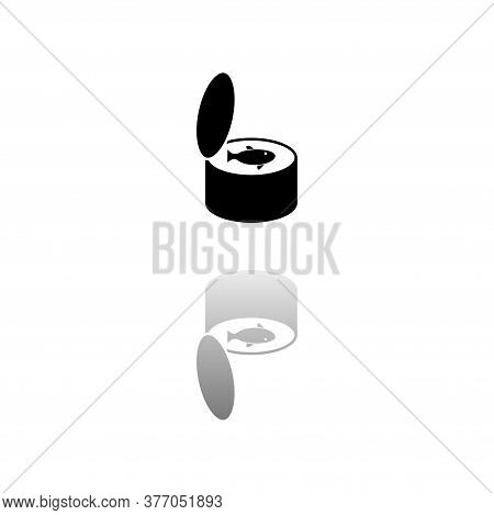 Canned Tuna Fish. Black Symbol On White Background. Simple Illustration. Flat Vector Icon. Mirror Re