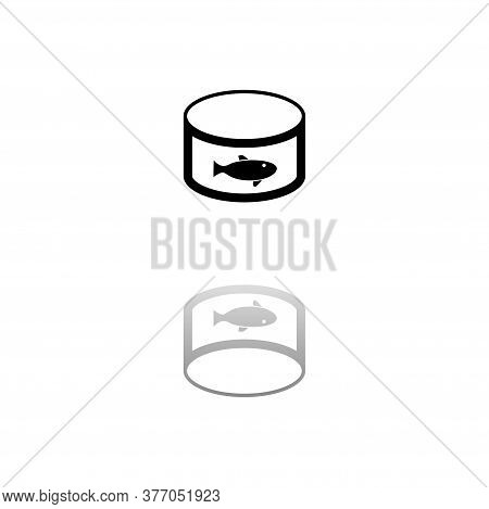 Can With Label Tuna Fish. Black Symbol On White Background. Simple Illustration. Flat Vector Icon. M