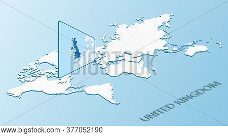 World Map In Isometric Style With Detailed Map Of United Kingdom. Light Blue United Kingdom Map With