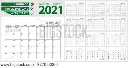 Portuguese Calendar Planner For 2021. Portuguese Language, Week Starts From Monday. Vector Calendar