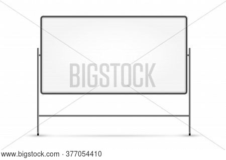 Blank White Board. Isolated Empty Business Presentation White Board On Stand. Vector Blank Whiteboar