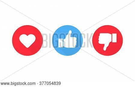 Heart Thumb Up And Thumb Down Symbol. Like And Dislike Icon. Vector Eps 10