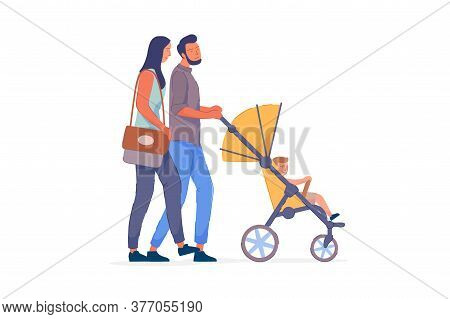 Family Couple. Happy Family Wife And Husband Couple Strolling Toddler Baby In Pram Isolated On White