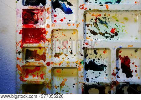 Top View Of Watercolour Palette. Vibrant Colours Used On The Palette. Shot At Howrah, West Bengal, I
