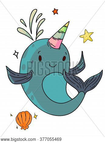 Unicorn Narwhal Fantasy Creature. Isolated Funny Unicorn Narwhal Whale Child Cartoon Character With