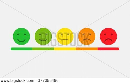 Rating Scale In The Form Of Mood Emoticons. Feedback Or Rating. Vector Eps 10