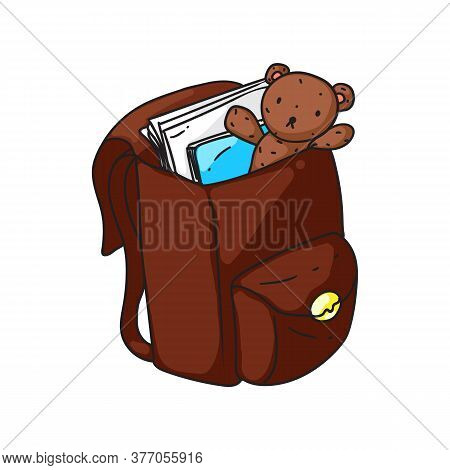 Kid Backpack. Isolated Cartoon Brown Open Kid School Bag With Books And Teddy Bear Doodle Icon. Stud