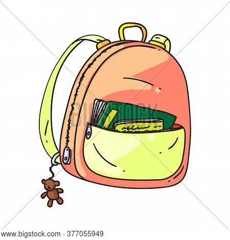 Small Backpack. Isolated Cartoon Kid School Bag With Pocket And Zippers Doodle Icon. Student Child S