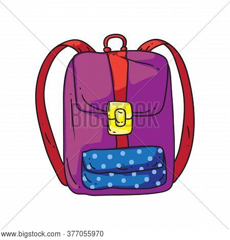 Girl Backpack. Isolated Cartoon School Or College Bag With Pocket And Straps Doodle Drawing Icon. St