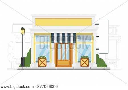 Small Hostel. Detailed Lodging And Accommodation Vector Illustration. Small City Hostel Building Ext