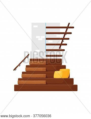 Modern Staircase. Isolated Wooden Staircase With Railing, Seat And Cushions Icon. Vector Home Interi