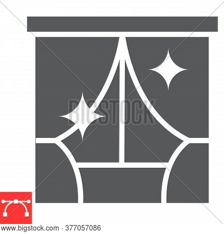 Curtain Cleaning Glyph Icon, Dry Cleaning And Wash, Curtain Sign Vector Graphics, Editable Stroke So