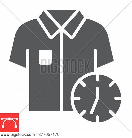 Express Dry Cleaning Glyph Icon, Dry Cleaning And Wash, Shirt With Clock Sign Vector Graphics, Edita
