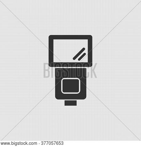 Flush Bulb Icon Flat. Black Pictogram On Grey Background. Vector Illustration Symbol