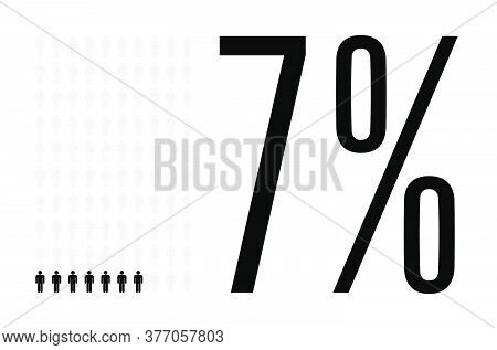 Seven Percent People Graphic, 7 Percentage Diagram. Vector People Icon Chart Design For Web Ui Desig