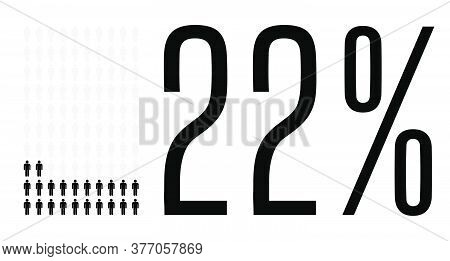 Twenty Two Percent People Graphic, 22 Percentage Diagram. Vector People Icon Chart Design For Web Ui