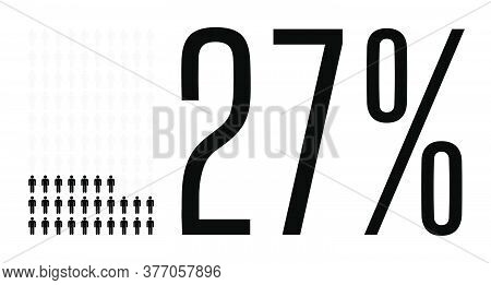 Twenty Seven Percent People Graphic, 27 Percentage Diagram. Vector People Icon Chart Design For Web