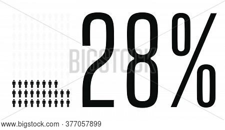 Twenty Eight Percent People Graphic, 28 Percentage Diagram. Vector People Icon Chart Design For Web