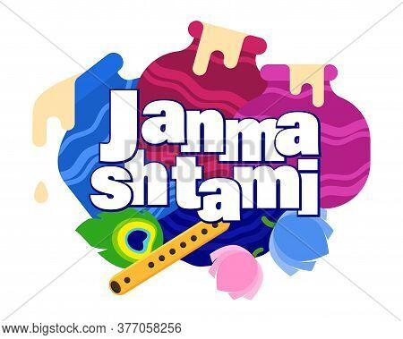 Illustration Of Dahi Handi Celebration In Happy Janmashtami Festival Background Of India. Celebrate