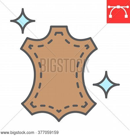 Leather Dry Cleaning Color Line Icon, Dry Cleaning And Wash, Leather Sign Vector Graphics, Editable