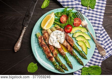 Grilled Green Asparagus Wrapped With Bacon, Plate With Bacon Wrapped Asparagus Salad. Food Recipe Ba