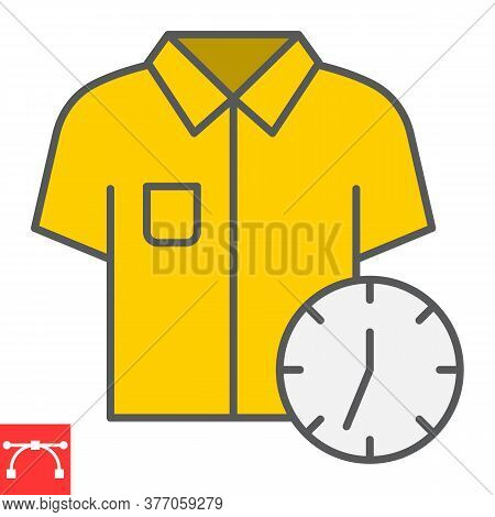 Express Dry Cleaning Color Line Icon, Dry Cleaning And Wash, Shirt With Clock Sign Vector Graphics,