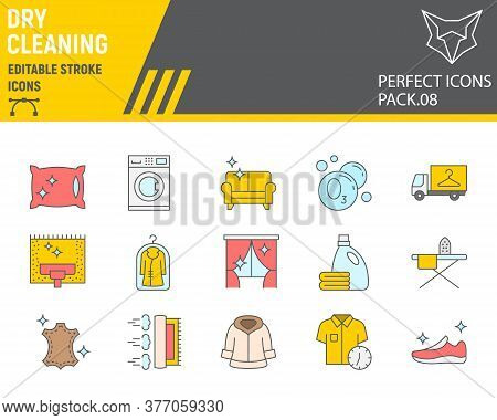 Dry Cleaning Color Line Icon Set, Laundry Symbols Collection, Vector Sketches, Logo Illustrations, D