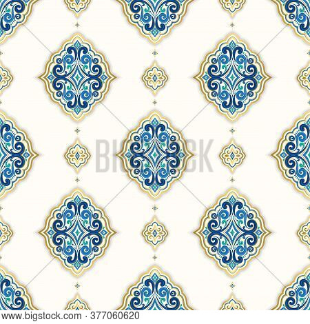Blue And Gold Luxury Seamless Pattern On A White Background. Vector Ornament Template. Traditional T