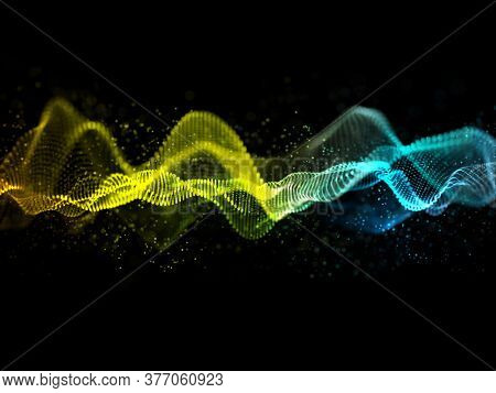 3D render of an abstract sound waves design with flowing particles