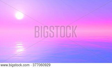 3D render of a sunset ocean landscape