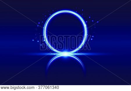 Blue Abstract Circle Light Effect Isolated On Blue Background, Round Light Lines In Blue Color. Abst