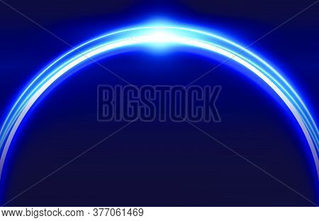 Circle Neon Light Effect Isolated On Dark Background, Round Light Lines In Blue Neon Color. Abstract