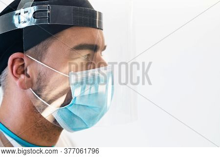 Doctor Wearing Ppe Face Surgical Mask And Visor Fighting Against Corona Virus Outbreak - Health Care