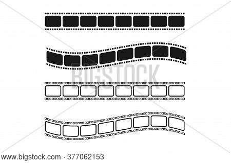 Set Of Film Reel In Black And White. Straight And Wavy Cinema Strip. Isolated Retro Photo Tape. Vint
