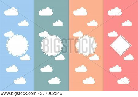 Set Of Clouds Seamless Pattern. Abstract Wallpaper With Circle Shape. Set Of Sky Pattern In Blue, Or