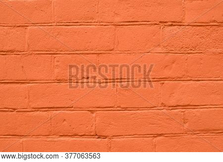 Abstract Color Brick Wall Texture Background Pattern, Wall Brick Surface Texture. Orange Colored Bri
