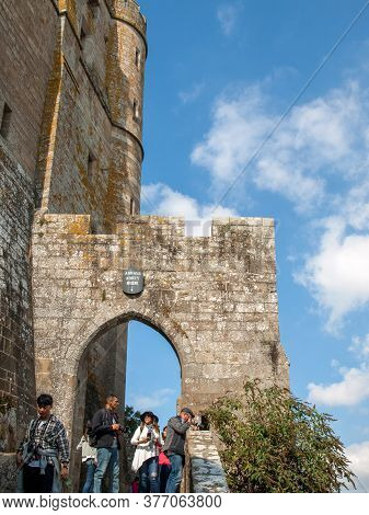 Le Mont-saint-michel, France - September 13, 2018: People Visit Mont Saint-michel, The Monastery And