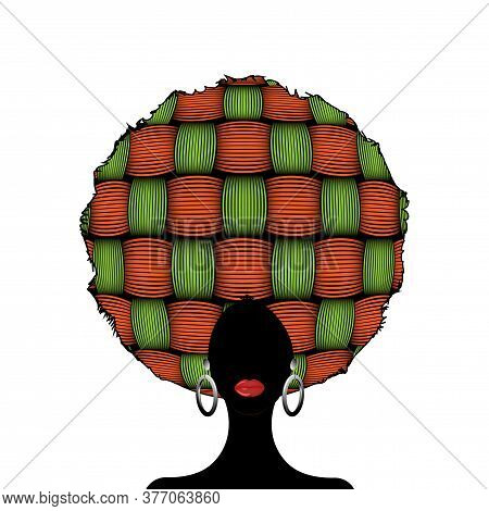 Portrait African Woman Silhouette,  Dark Skin Female Face With Afro Curly Hair And Ethnic Traditiona