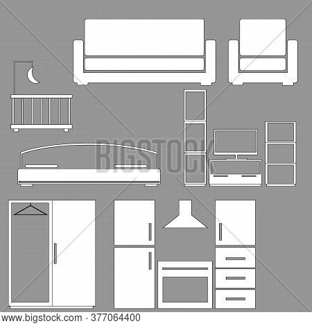 A Set Of Schematic Illustrations Of Furniture For Home