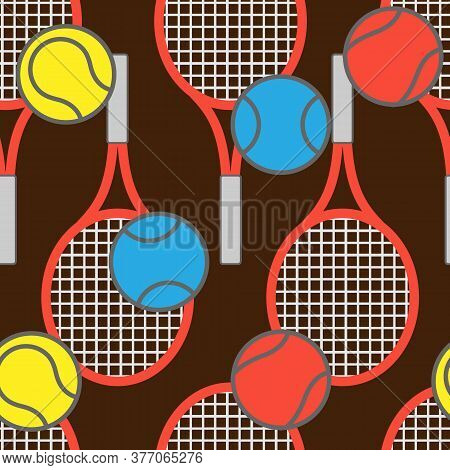 Seamless Tennis Pattern With Racquets And Balls, Ornament For Wallpaper And Fabric