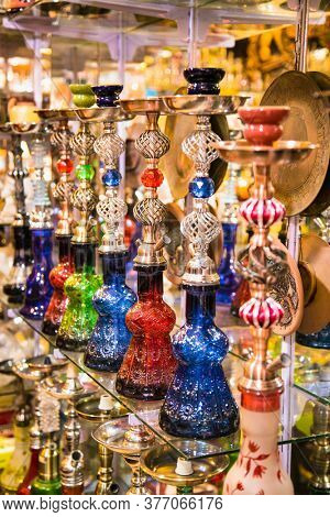 The hookah at the street gift shop in Egyptian souvenir shop at Hurgada. Egypt.