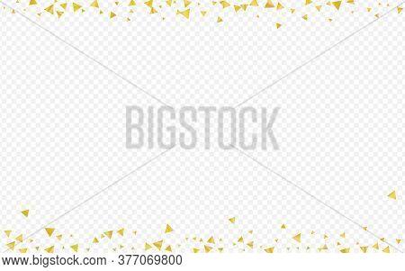 Golden Shards Vector Transparent Background. Transparent Confetti Background. Gold Triangle Golden W