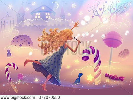 Fantasy Landscape Illustration With Dreaming Girl Flying In Sweet World With Christmas Candy Canes,
