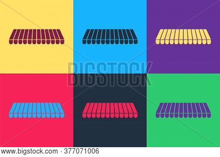Pop Art Striped Awning Icon Isolated On Color Background. Outdoor Sunshade Sign. Awning Canopy For S