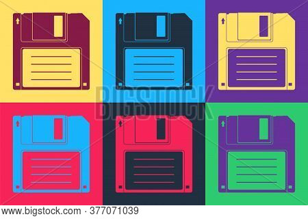 Pop Art Floppy Disk For Computer Data Storage Icon Isolated On Color Background. Diskette Sign. Vect