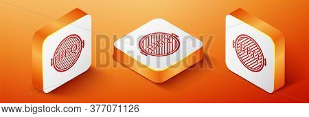 Isometric Barbecue Grill Icon Isolated On Orange Background. Top View Of Bbq Grill. Orange Square Bu