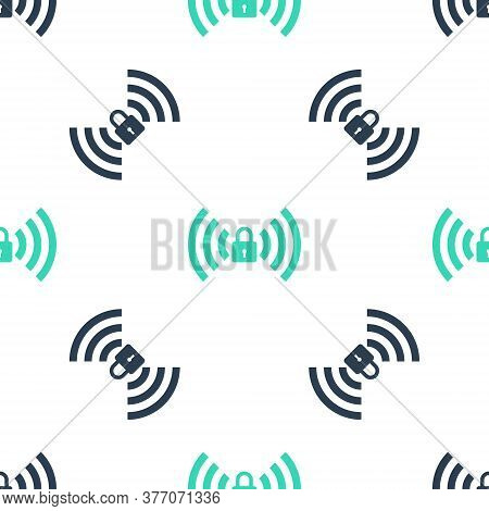 Green Wifi Locked Sign Icon Isolated Seamless Pattern On White Background. Password Wi-fi Symbol. Wi