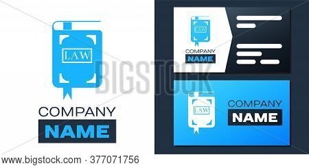 Logotype Law Book Icon Isolated On White Background. Legal Judge Book. Judgment Concept. Logo Design